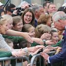 The Prince of Wales is greeted by wellwishers as he visits Donegal Town