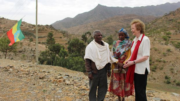 UN envoy for climate change Mary Robinson meets local farmers in Asmut village in Tigray, Ethiopia