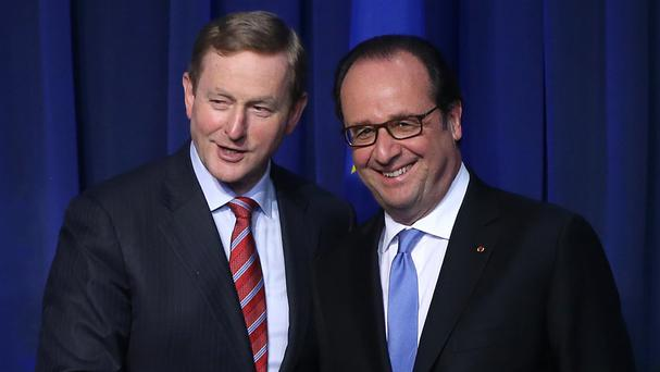 French president Francois Hollande and Taoiseach Enda Kenny during a press conference at Government Buildings in Dublin
