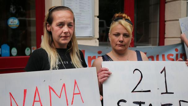 Annette Courtney, left, and Karyn Valente, homeless residents of Lynam's Hotel