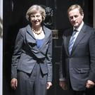 British prime minister Theresa May greets Taoiseach Enda Kenny at 10 Downing Street