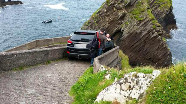 The car was wedged on a walkway used by ferry passengers (Blasket Islands Ferry/PA)