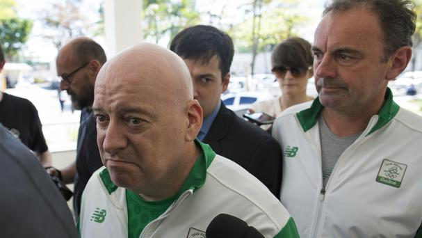Ireland's Olympic Council team leader Kevin Kilty and chief executive Stephen Martin at police headquarters in Rio (AP)