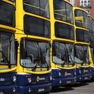 Buses parked at Dublin's Ringsend depot as thousands of commuters faced strike chaos