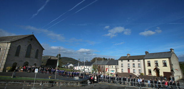 People queue up to pay their respects to the family of Munster Rugby head coach Anthony Foley at St. Flannan's Church, Killaloe in Co Clare Picture: PA