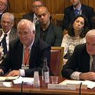 Bertie Ahern (right) and John Bruton appearing before the European Union Select Committee in the House of Lords