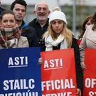 Members of the Association of Secondary Teachers of Ireland take part in the first of seven planned strike days outside St Mary's College, Dundalkas