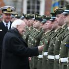 President Michael D Higgins meets members of the Defence Forces