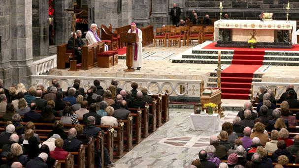 The coffin of former Bishop of Galway Eamonn Casey inside the Cathedral of Our Lady Assumed into Heaven and St Nicholas.