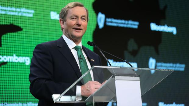 Enda Kenny addresses staff at Bloomberg headquarters in New York Picture: PA