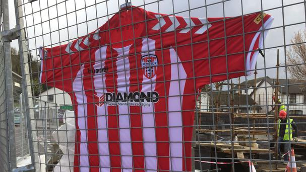 A football shirt hanging up at Derry City football ground in Brandywell in memory of Ryan McBride