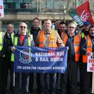 Siptu trade union workers picket outside Bus Aras in Dublin on the first day of the Bus Eireann strike