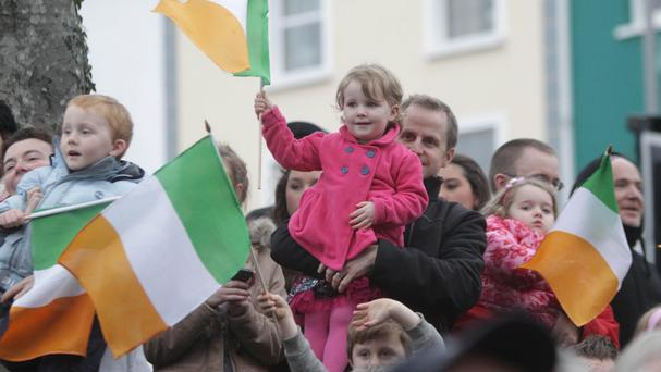 Onlookers celebrate the announcement that Galway would be the European Capital of Culture for 2020 Photo: PA News