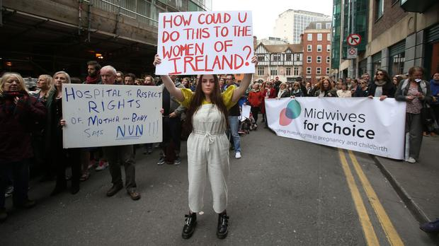 Protesters outside the Department of Health in Dublin