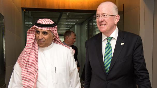 Charlie Flanagan (right) met Saudi Deputy Minister for Education Dr Nasser al Fawzan in Riyadh last November (Department of Foreign Affairs and Trade/PA)