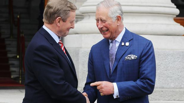 The Prince of Wales is greeted by Taoiseach Enda Kenny in Dublin