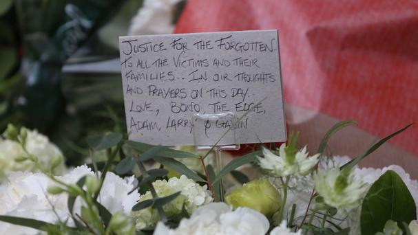 A wreath from the band U2 was laid in Talbot Street Dublin to mark the 42nd anniversary of the Dublin-Monaghan bombings