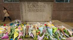 Flowers left on London Bridge for the victims of the terrorist attack on Saturday.