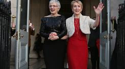 Children's Minister Katherine Zappone (left) and Ann Louise Gilligan outside Dublin City Hall