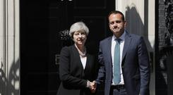 British PM Theresa May welcomes Irish Prime Minister Leo Varadkar to 10 Downing Street in London. (Kirsty Wigglesworth/AP)