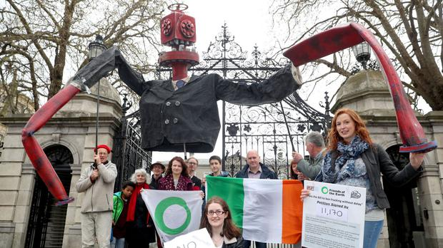 Friends of the Earth campaign against fracking outside Leinster House