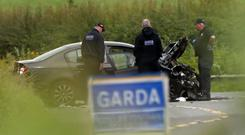 Gardai at the scene of the accident near Aclint Bridge in Ardee, Co Louth