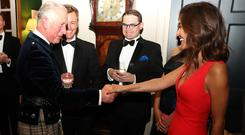 The Prince of Wales meets Myleene Klass as he attends Classic FM's 25th anniversary recital at Dumfries House