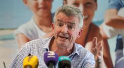 Ryanair boss Michael O'Leary during a press conference in Dublin.