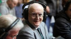 Jimmy Magee at work at a boxing event