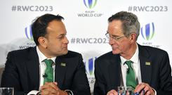 Leo Varadkar (left) and Dick Spring, chairman of Ireland 2023 Oversight Board, during the presentations