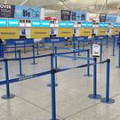 The scene at the Ryanair check-in desks at London Stansted Airport, Essex.