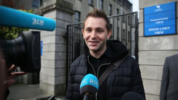 Max Schrems leaves the High Court in Dublin.