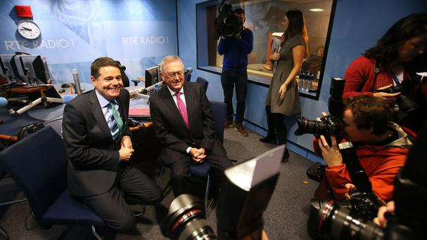 Finance Minister Paschal Donohoe (left) in the studio with RTE Today show presenter Sean O'Rourke