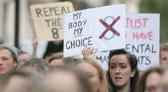 Abortion rights demonstrators outside the Irish embassy during the London March of Choice