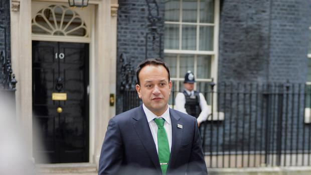 Taoiseach Leo Varadkar outside 10 Downing Street Photo: PA