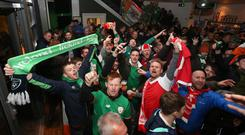 Fans inside Copenhagen's Parken Stadium for the big match between Denmark and the Republic of Ireland