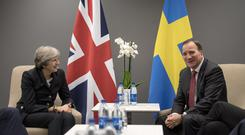 Theresa May met with her Swedish counterpart Stefan Lofven ahead of a summit in Gothenburg, Sweden.