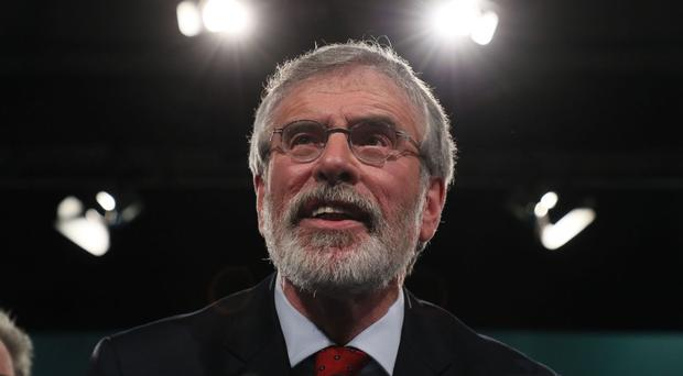 Sinn Fein president Gerry Adams addresses the Sinn Fein Ard Fheis in the RDS, Dublin