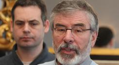 Sinn Fein's Pearse Doherty with Gerry Adams