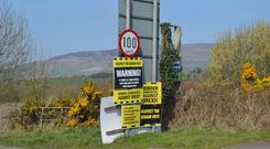 The Irish border between Londonderry and Donegal at Bridgend