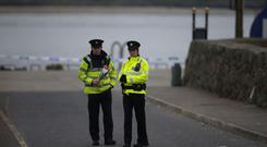 Gardai at the scene at Buncrana Pier in Co Donegal.