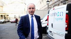 Mr Varadkar met Fianna Fail leader Micheal Martin, pictured, for under an hour in Government Buildings in Dublin