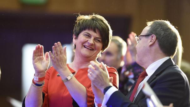 Arlene Foster and deputy leader Nigel Dodds during the DUP's annual conference at the La Mon hotel in Belfast