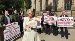 Justice4the21 group launched an appeal to crowd-fund a High Court challenge of a coroner's decision to rule out identifying the alleged perpetrators
