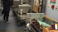 Latest figures showed 483 patients on trolleys or in chairs in A&E units and corridors, waiting for hospital beds