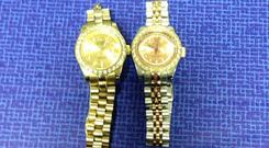 Two Rolex watches seized by gardai in a crackdown on organised crime. (An Garda Siochana/PA)