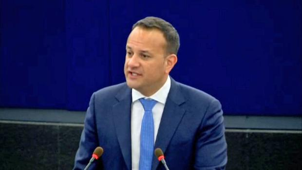 Taoiseach Leo Varadkar addressing the European Parliament in Strasbourg. Photo: PA