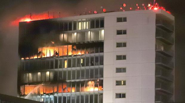 The fire broke out at the Metro Hotel near Dublin Airport (Niall Carson/PA)