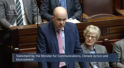 Denis Naughten making a statement on claims around Independent News and Media in the Dail (Oireachtas TV/PA)