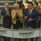Minister Heather Humphreys joins Taoiseach Leo Varadkar at the official opening of Combilift's global headquarters and manufacturing facility in Monaghan (Philip Fitzpatrick/PA)